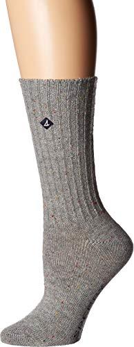 en's Solid Boyfriend Crew Socks, Gray Marl, Shoe 4-10/Sock Size 9-11 ()