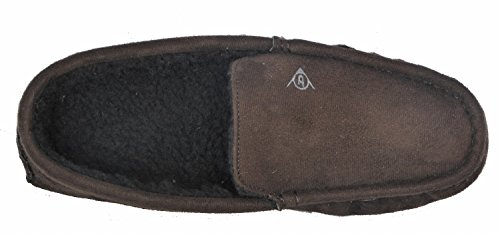 Dunlop Mens Famous Joel Moccasin Slippers with Faux Sheepskin Lining Brown GyEcyD2HGD