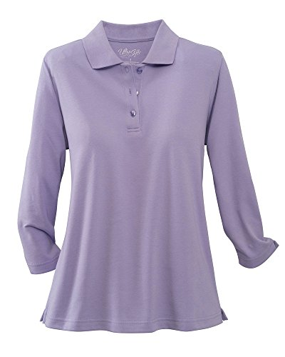 UltraSofts ¾ Sleeve Knit Polo, Lavender, (3/4 Sleeve Polo Shirt)