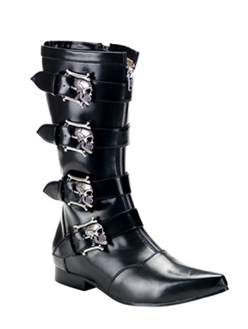 Boots Skull Buckle (Mens Demonia Goth Boot With Skull Buckles -)
