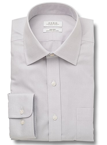 Enro Big&Tall-Beverly Queens Oxford Spread Collar Non-Iron Dress Shirt (Light Grey,18 x (Non Iron Spread Collar Oxfords)