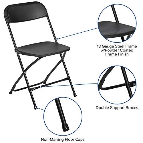 Flash Furniture 10 Pk. HERCULES Series 650 lb. Capacity Premium Black Plastic Folding Chair, 10-LE-L-3-BK-GG