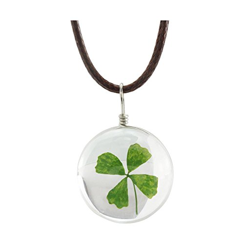 - FM FM42 Dried Leaves Lucky 4-Leaf Clover in Glass Ball Pendant Necklace FN4010