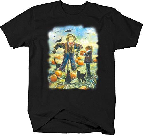 Scarecrow Pumpkin Patch Black Cat Black Cat Crows Field Crops Tshirt - Medium