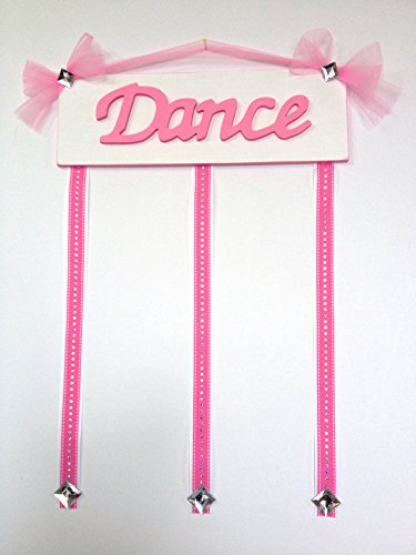 Girls Pink and White Dance Sign with Gem Ribbons Wooden Hairbow Holder for Hair Bows Three Ribbons Wooden Wall Art - Ribbon Gem