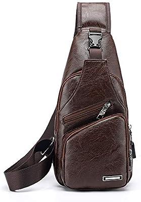Men Vintage Leather Sling Chest Bag Shoulder Backpack Outdoor Travel Daypack