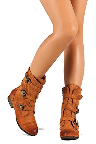 Liliana Mid-calf Boots with Buckles and Waxed Pu Yucca-2 BIcnP1Z