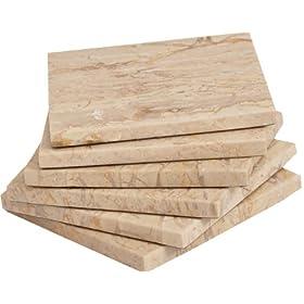 CraftsOfEgypt Set of 6 – Black Marble Stone Coasters – Polished Coasters – 3.5 x 3