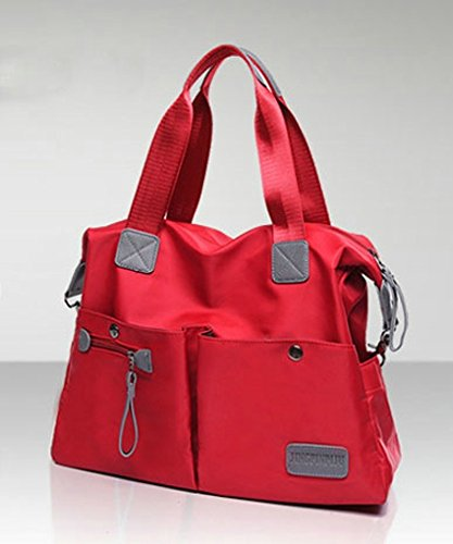 Pockets Waterproof Bag Multi Nylon Tote Zipper Women Red Hobo Shoulder Handbag 5TBRwxEEq8