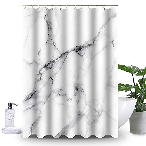 Uphome Marble Bathroom Shower Curtain, Heavy Duty White and Grey Fabric Shower Curtain for Bathtub Showers, 3D Crack Design Decorative Brick Bathroom Accessories (72
