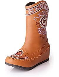 Women's Blend Materials Embroidered Closed-Toe Boots With In Elevator Shoes