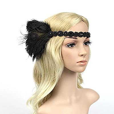 1920s Flapper Headband Women Roaring 20s Gatsby Costume Hairband Feathers Headwear Rhinestone Cocktail Party Headpiece