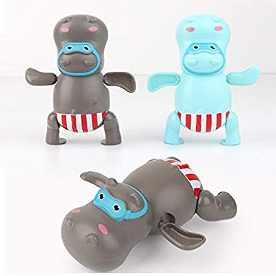 Cartoon Cute Swimming Animal Wind Up Clockwork Cute Duck Hippopotamus Kid Baby Swimming Favor Bath Time Play Toy Showering (Gray): Arts, Crafts & Sewing