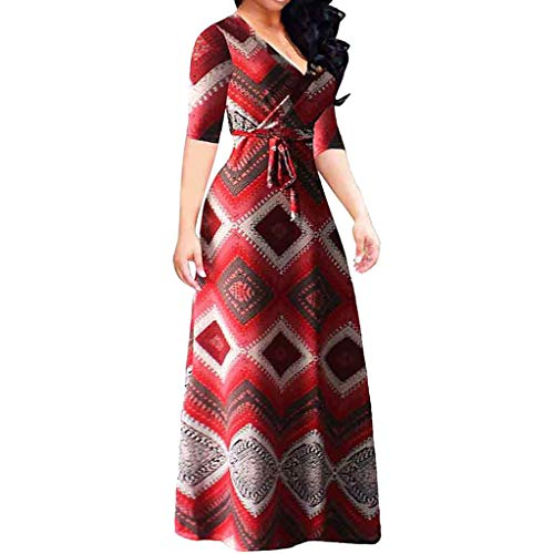 ANJUNIE Fashion Vintage Maxi Dress Women Summer Half Casual Bandage Printing V-Neck Long Dress(Red,XXXXXL)]()