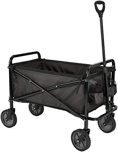 AmazonBasics Garden Tool Collection – Collapsible Folding Outdoor Garden Utility Wagon with Cover Bag, Black