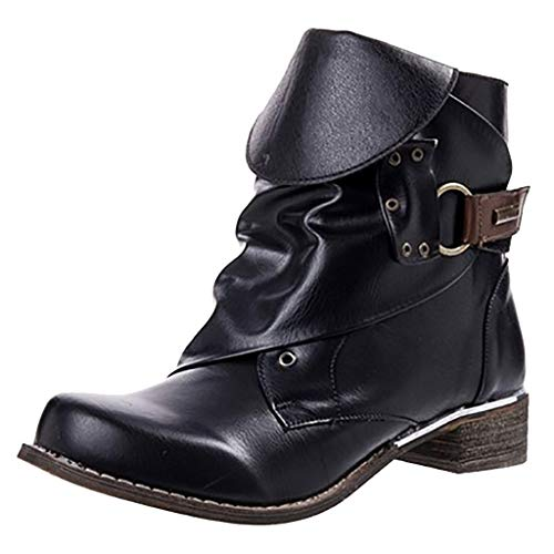 Womens Motorcycle Vegan Leather Roound Toe Military Combat Tactical Riding Biker Boots