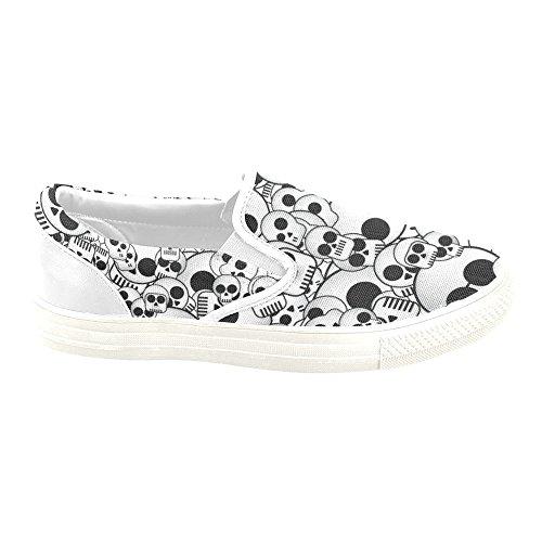 D-Story Custom Sneaker Skull Women Unusual Slip-On Canvas Shoes BYUGX3BUWl