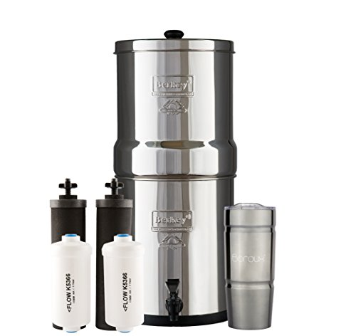 BIG Berkey Water Filter System with 2 Black Purifier Filters (2 Gallons) Bundled with 1 set of Fluoride (PF2) Filters and 1 Boroux Double Walled 20 oz Stainless Steel Tumbler Cup by Boroux