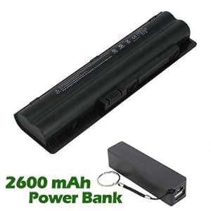 Battpit Bateria de repuesto para portátiles HP Pavilion DV3-2127TX (4400 mah) con 2600mAh Banco de energía / batería externa (negro) para Smartphone