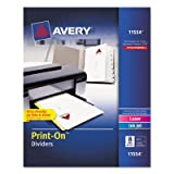 Print-On Dividers, 8-Tab, 3-Hole Punched, 8-1/2 x 11, White, 25 Sets/Pack, Sold as 200 Each
