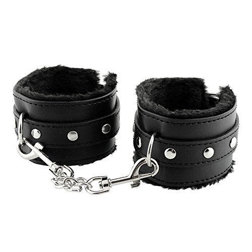 Black Leather Sexual Handcuffs, Soft Leather Furry Wrist and Ankle Fetish Bondage Toy with Adjustable Straps for Sex Game