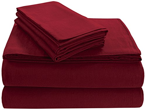 Cashmere Flannel (Tribeca Living FL170EDPCKIDR Soft 170-GSM Cotton Flannel Pillowcases King Deep Red)