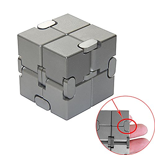 Naxxlab Infinity Cube, Metal Aluminum Alloy Prime Killing Time Fidget Toy Gifts for ADD ADHD Anxiety Autism Adult and Children (Silver) by SLEEPON (Image #7)