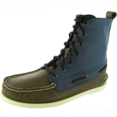 Sperry Top-Sider Mens 'A/O 7 Eye Nylon' Boot Shoe, Brown/Navy Nylon, US 7.5