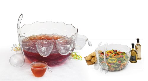 Plastic Punch/Salad Bowl 16-Piece Set