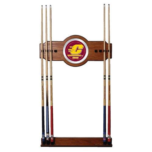 NCAA Central Michigan University Billiard Cue Rack with Mirror by Trademark Gameroom
