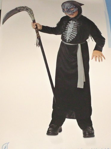 Grey Skeleton Reaper Robe For Kids (Phantom Messenger Costume Child Size Small (4-6))