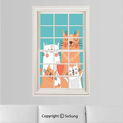 "Funny Removable Wall Sticker/Wall Mural,Cute Kitten Couple Sweet Happy Paws Loving Heart with Family Cats Poster Style Animal Creative Window View design Wall Decor,19.6""x31"",for Bedroom & Living Room"