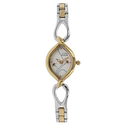 Titan Women's Raga Gold/Silver Metal Jewellery Bangle Design, Bracelet Clasp, Quartz Glass, Water Resistant Analog Wrist Watch