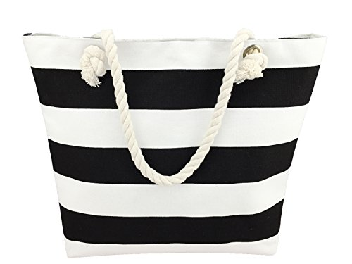 Large Canvas Beach Bag - Top Zipper Closure - Interior Lining - Perfect Tote Bag For any Beach Vacation -