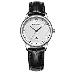 LONGBO Womens Casual Silver Case & Index Analog Quartz Business Watches Black Croco Leather Band Bracelet Wristwatch Waterproof Auto Date Calendar Couple Dress Watch For Lady