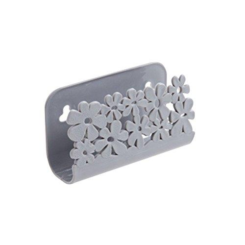 OUNONA Organizador de Esponja con Ventosa de Plástico para Estropajo para Fregadero Cocina Jabonera (Gris)