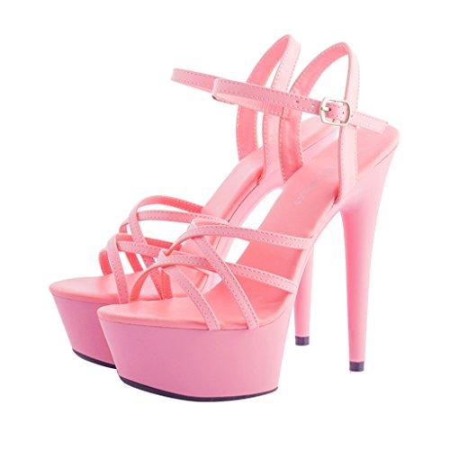 Scarpe banchetto Colore dimensioni ALUK alto Rosso a spillo 15cm Shoes Rosa Sandali da Tacco 39 Sweet donna Flower da long245mm gcdwOd0Rr7