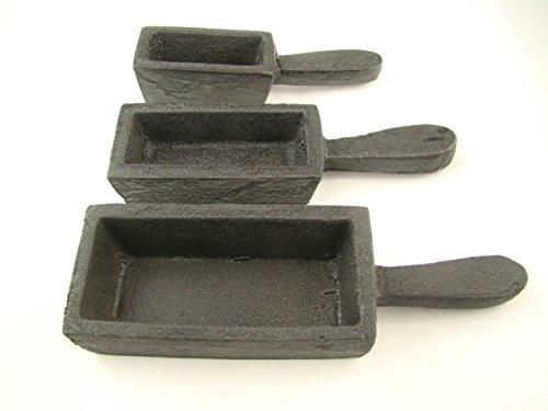 3 Mold Set - 200oz, 80oz, 40oz Gold Bar Loaf Cast Iron Steel Molds Melting & Smelting