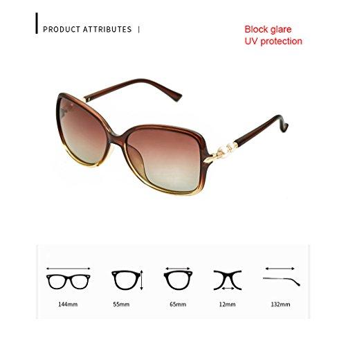 Grande Conducción de Elegante de Purple Brown polarizadas Sol Sol Pearl Montura Mujer de Gafas de Gafas de TangMengYun de Sol Color Gafas O4qq7
