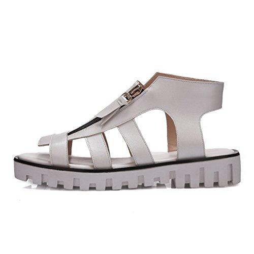 AllhqFashion Womens Open Round Toe Cow Leather Low Heels Solid Sandals with Cross Hollow Out White 84c1qLnL