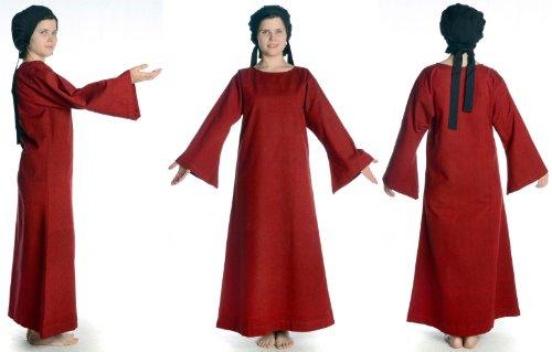dunkelrot XL Baumwolle Leinenstruktur Damenkleid mit Mittelalter Skapulier Dunkelrot Damen mit Kleid beige S HEMAD qtUawTSx