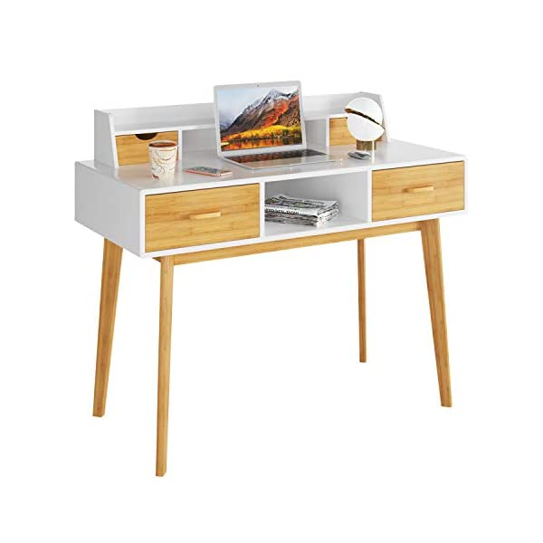 HOMECHO Bureau d'Ordinateur,Table Informatique avec étagères de Bureau, avec 4 Tiroirs PC Table en Bambou, pour…