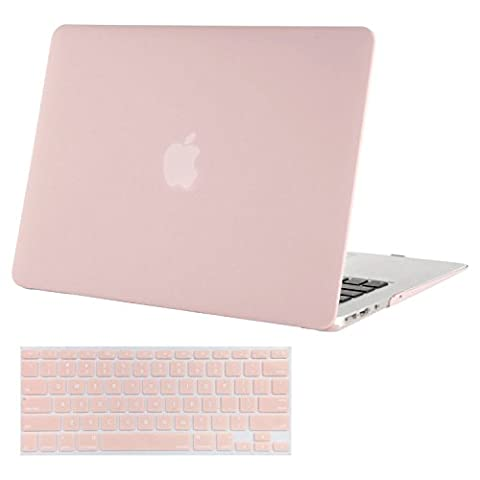 Mosiso Plastic Hard Case with Keyboard Cover for MacBook Air 11 Inch (Models: A1370 and A1465), Rose (11 Inch Apple Case)