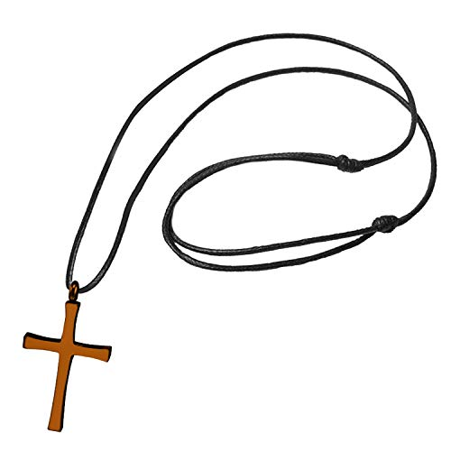 (555Jewelry Stainless Steel Metal Cross Adjustable Black Leather Cord Unisex Women Men Religious Christian Vintage Braided Rope Chain Fashion Jewelry Accessory Pendant Necklace, Copper Brown 18 Inch)