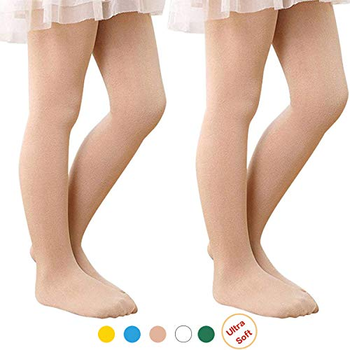Girls' Ultra Soft Ballet Dance Footed Tight Knit Casual School Leggings For Toddlers/Little Kids/Big Kids 2 Pack Nude Large (43.31