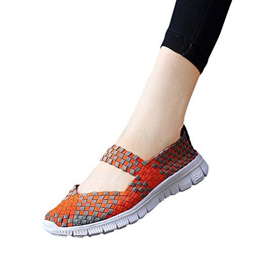 Womens Lätta Färg Vävda Skor Slip-on Tillfälliga Promenadskor Drfit Loafers Apelsin