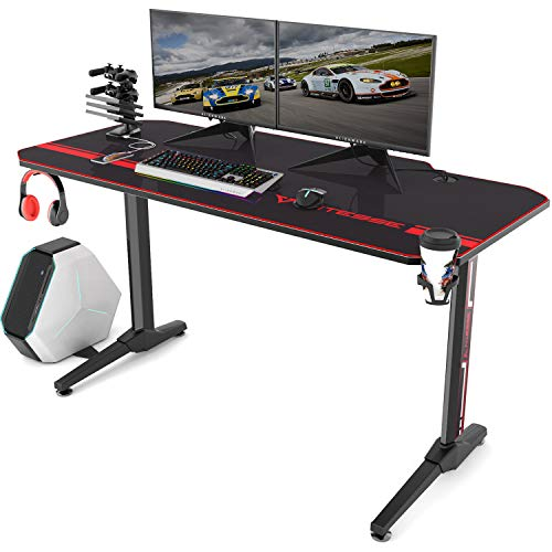 Vitesse 55 inch Gaming Desk T Shaped Computer Desk with Free Large Mouse pad, Racing Style...