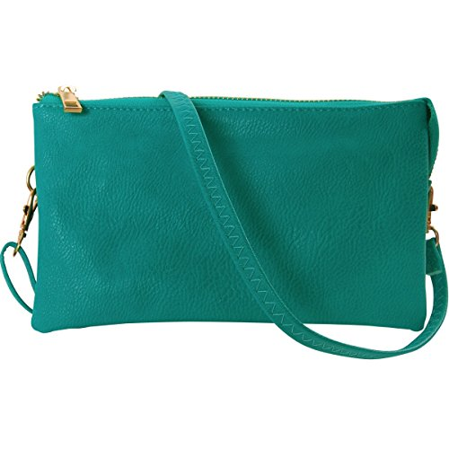 - Humble Chic Vegan Leather Small Crossbody Bag or Wristlet Clutch Purse, Includes Adjustable Shoulder and Wrist Straps, Turquoise, Teal, Aqua Blue