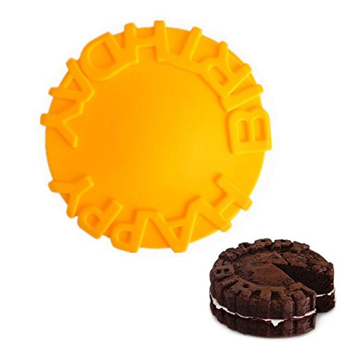 1 piece Silicone Happy Birthday Round Cake Mold Pan Kitchen Baking Tools Mould Bread Pie Flan Tart Cakes Bakeware Decorating -