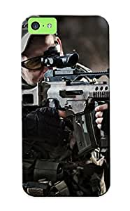 Iphone 5c Case, Premium Protective Case With Awesome Look - Soldiers Uniforms Camouflage Guns And Load Blurring Weapon Military(gift For Christmas)